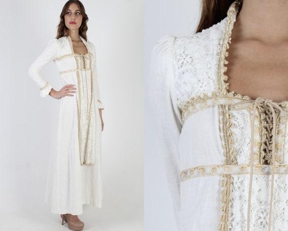 Black Label Gunne Sax Crochet Maxi Dress / Floral