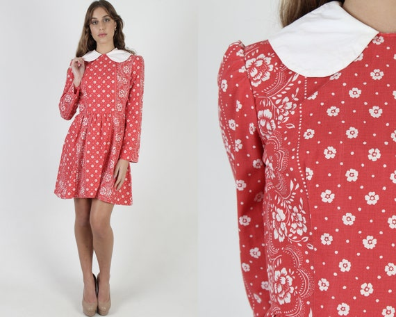 Red Floral Americana Mini Dress / Vintage 70s Scal