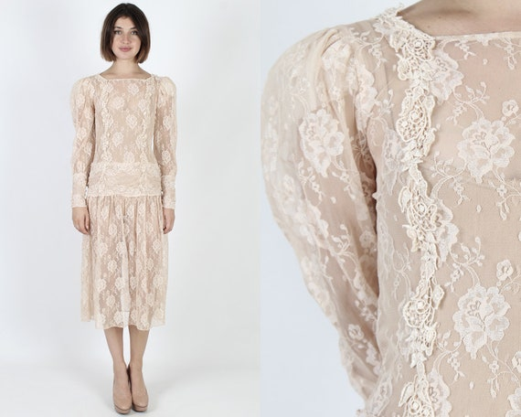 12a43de1603 Lace Dress Sheer Dress Lace Wedding Dress Deco Dress Vintage