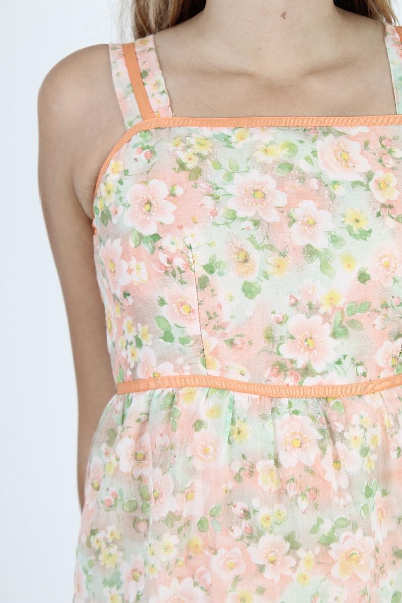 Vintage 70s Peach Floral Dress Summer Party Dress Womens Knee Length Dress Soft Flower Colorful Tank Dress Lawn Sun Tiered Mini Dress
