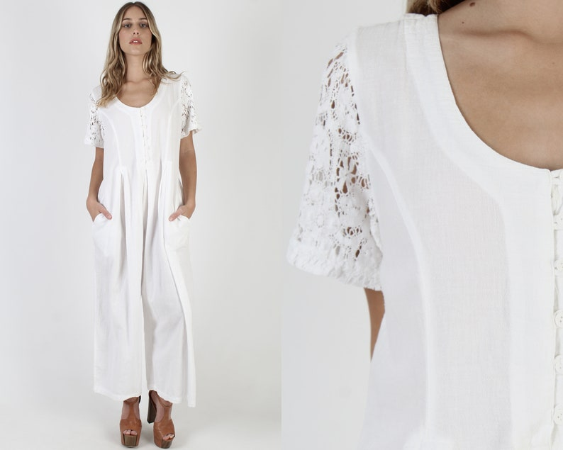 White Cotton Wide Leg Jumpsuit  Vintage 80s Bali Lace Sleeve Playsuit  Plain Baggy Button Up Utility Playsuit With Pockets