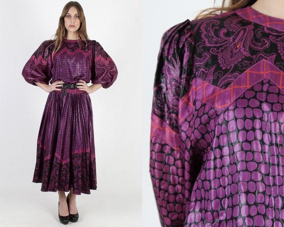 Vintage 80s Purple Diane Freis Dress 1980s Fres Fl