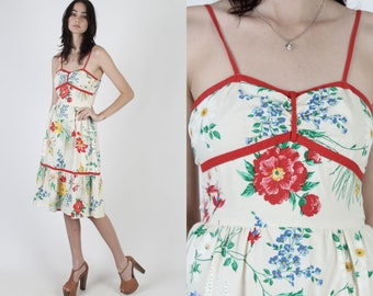 Smocked Bright Colorful Floral Dress / Vintage 80s Sweetheart Bodice / Ivory Elastic Back Tiered Sun Mini Dress