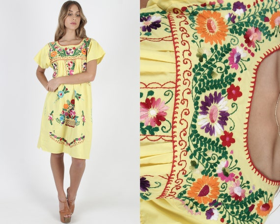 Yellow Cotton Mexican Dress / Vintage South Americ