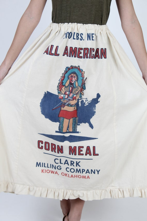 Flour Sack Skirt / Native American Indian Print /… - image 6