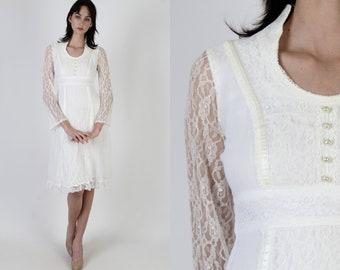 Ivory Prairie Wedding Dress / Vintage 70s Sheer Floral Bridal Dress / Simple Ivory Bridesmaids Lawn Dress / See Through Lace Bell Sleeves