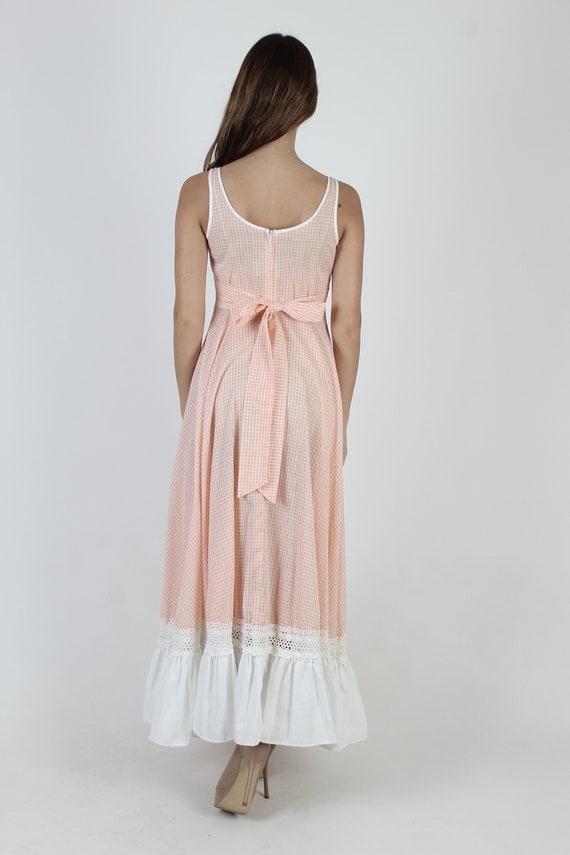 Vintage 70s Peach Gingham Dress / Gunne Sax White… - image 6