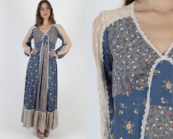 Jody T Calico Floral Maxi Dress / Vintage 70s Coun
