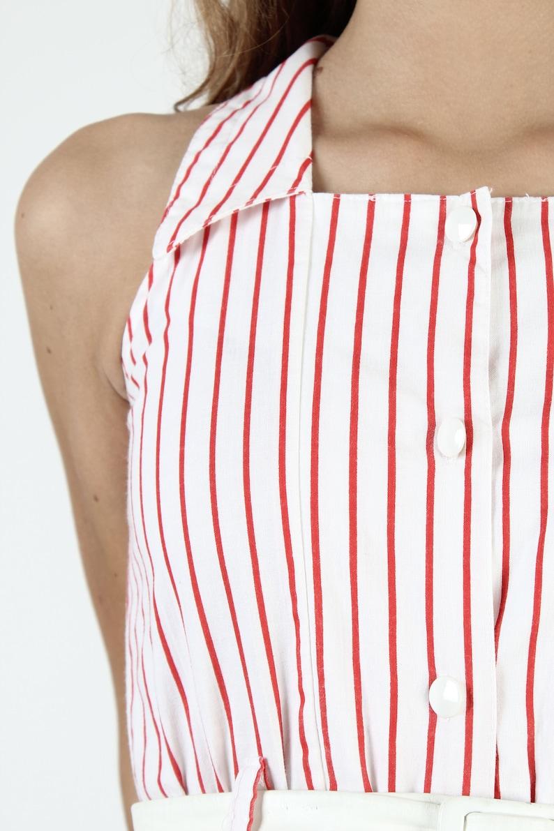 Vintage 80s White Halter Dress Red Pin Striped Dress 1980s Sailor Style Collar Festival Line Print Button Up Minimalist Mini Dress