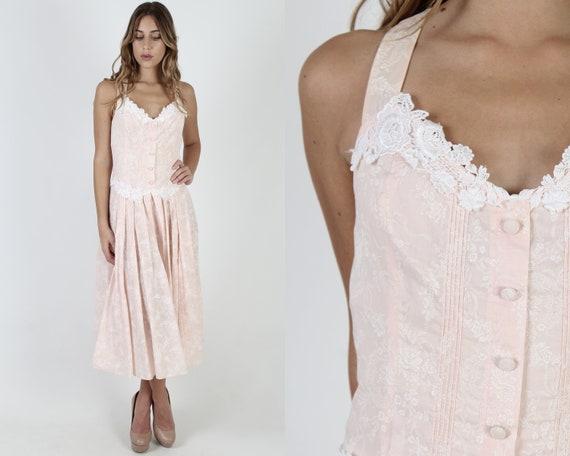 Scott McClintock Pink Floral Dress / 1980s Deco We