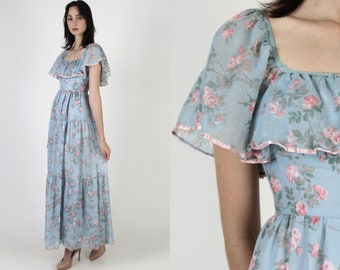 Pink Romantic Rose Maxi Dress / Frontier Country Western Dress / Womens 70s Antique Saloon Dress / Long Full Skirt Prairie Maxi Dress