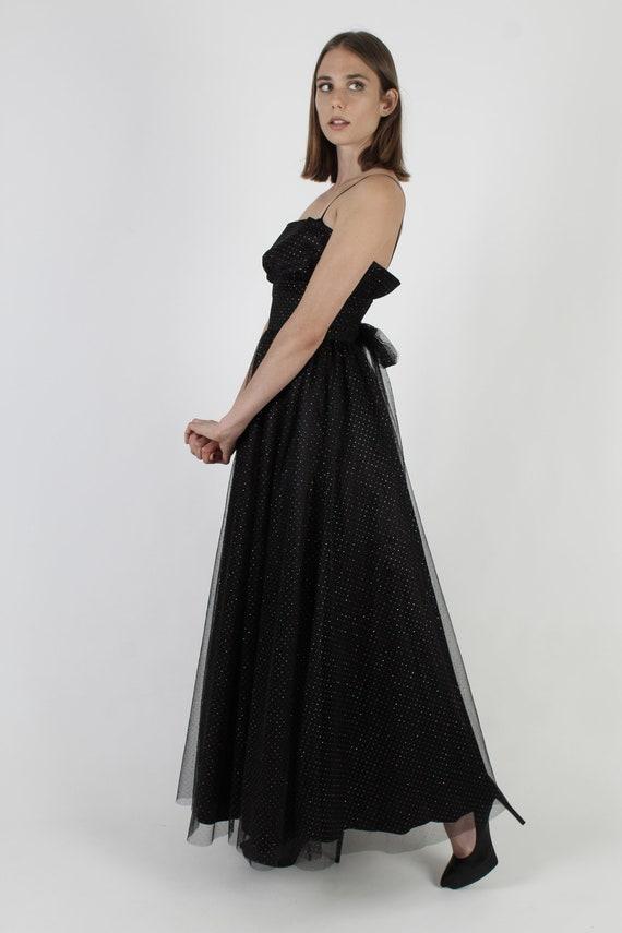 Vintage 80s Gothic Style Dress / Gunne Sax Black … - image 4