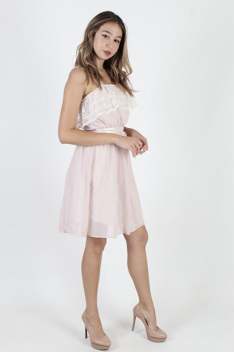 Vintage Light Pink Gunne Sax Dress Lace Trim Embroidered Dress Bohemian Wedding Dress 70s Floral Summer Sun Bridal Romantic Mini Dress