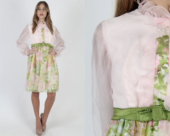 Sheer Pink Chiffon Mini Dress / Pastel Easter Tuxe