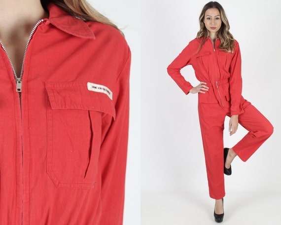 deadb88c728 Diane Von Furstenberg Jumpsuit Vintage 80s Red Jumpsuit Zip Up