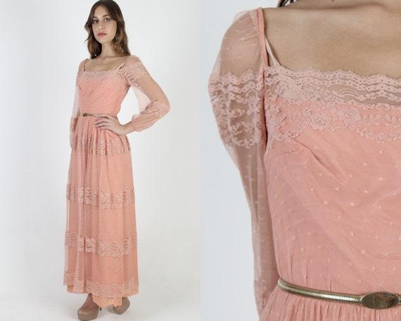 70s Pink /& Coral Lounge Slip NYLON Dress s-m
