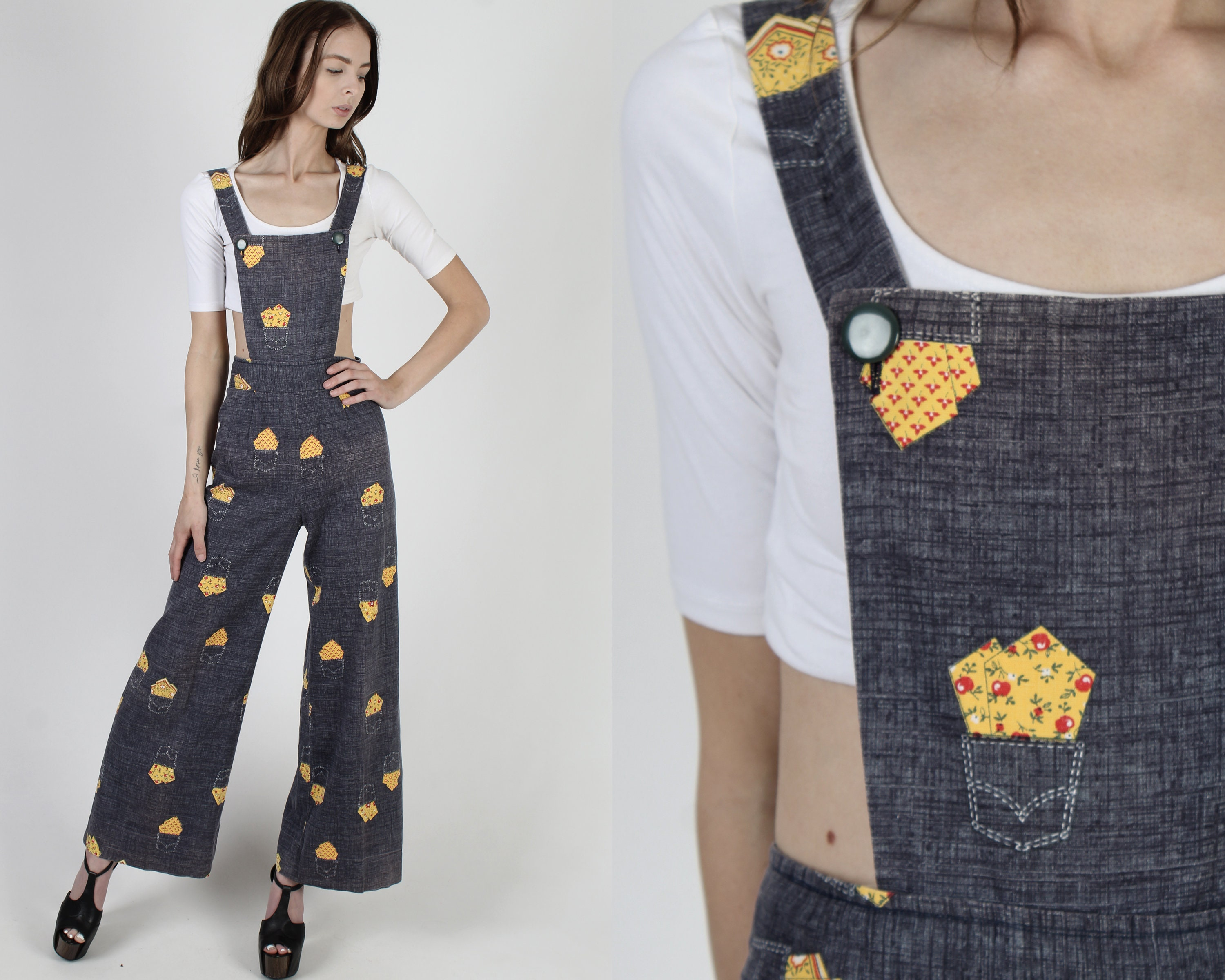 Vintage Aprons, Retro Aprons, Old Fashioned Aprons & Patterns Vintage 70S Chambray JumpsuitHomespun Handkerchief Bell Bottoms Wide Leg Pocket Print Playsuit Open Side Pinafore Apron $118.80 AT vintagedancer.com
