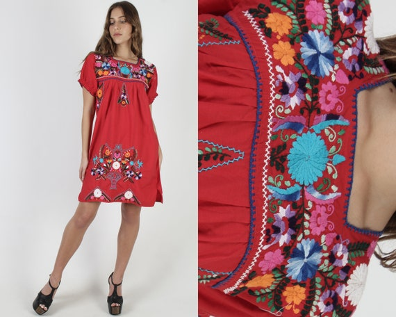 Red Cotton Mexican Mini Dress / Embroidered Floral