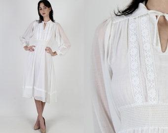 Vintage 70s White Prairie Dress Sheer Floral Lace Puff Sleeve Smocked Midi Mini Dress