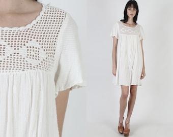 Ivory Gauze Caftan Dress / Thin Sheer Cotton Dress / Crochet Lace Beach Cover Up Dress / Vintage 70s Flutter Sleeve Festival Mini Dress