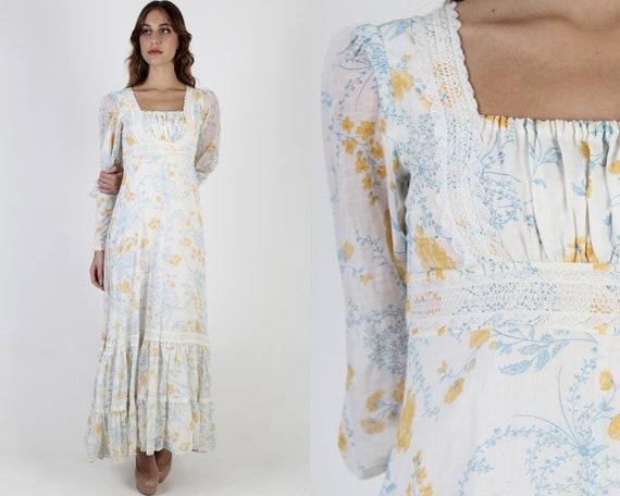 Gunne Sax Wildflower Dress / 70s Ivory Floral Jess