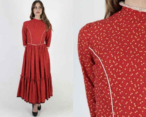 70s Country Floral Dress / Red Western Calico Dres