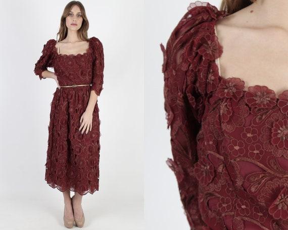 Vintage 70s Victor Costa Maxi Dress Burgundy 3d Cu