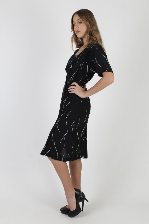 Simple Black Striped Dress / Vintage 80s Wrap Bod… - image 3