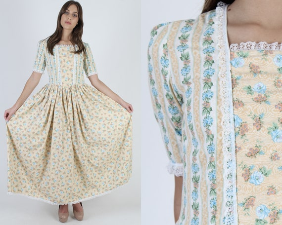 Yellow Cotton Calico Floral Dress / Frontier Count