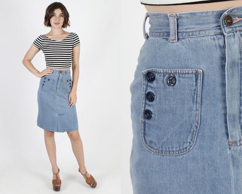 adf229920 Denim Skirt Blue Jean Skirt Sailor Skirt Nautical Skirt Pencil | Etsy