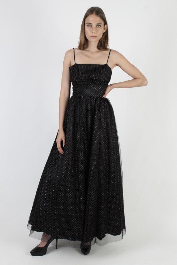 Vintage 80s Gothic Style Dress / Gunne Sax Black … - image 3