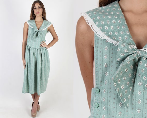 Nautical Inspired Country Pinafore Dress / Mint Ca