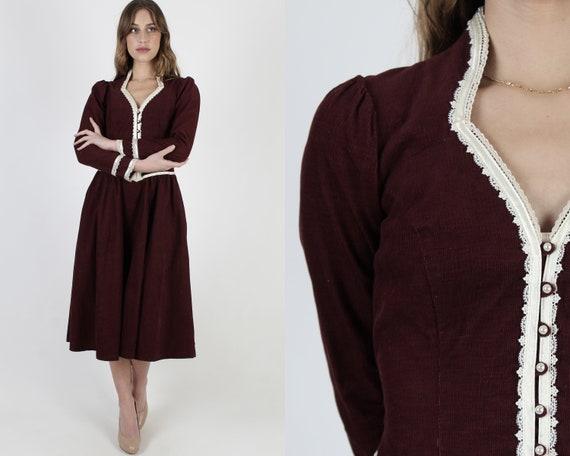 Corduroy Gunne Sax Dress / 70s Country Folk Pocket