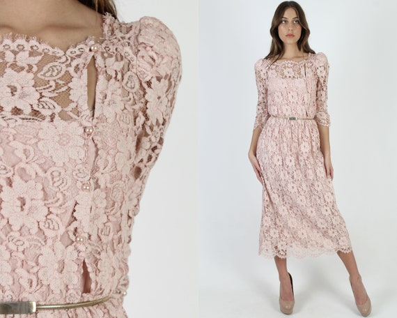 Blush Pink All Lace Dress / Vintage 80s Sheer Scal