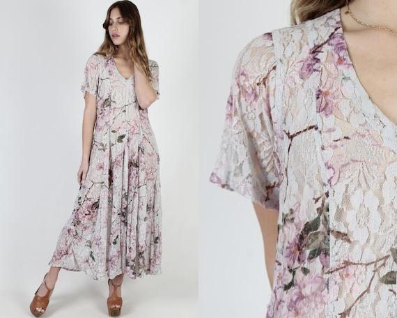 Floral vintage dress for women Womens dress size Medium,Pleated Bodice dress,Maxi Summer dress for women,Bohemian Urban Fashion Dress   7X9
