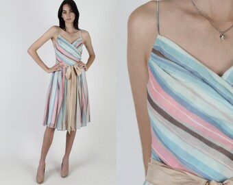 Pastel Striped Dress / Casual Vertical Horizontal Stripe Dress / Womens 70s Garden Deep V Wrap Dress / 1970s Waist Tie Mini Dress