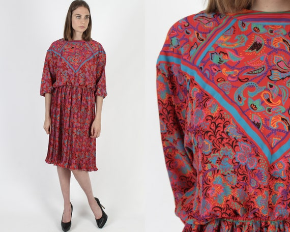 Cool Paisley Rayon Dress Handmade in the Eighties