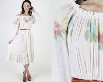 Vintage 80s Hand Painted Dress / Thin Ivory Floral Gauze Dress / On or Off The Shoulder / Flowy Tiered Cotton Midi Mini Dress