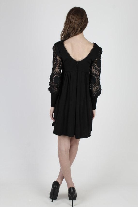 Vintage 70s Black Corset Dress / All Over Plain F… - image 5