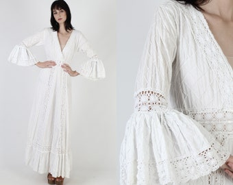 White Mexican Wedding Dress / South American Crochet Lace Dress / Vintage Ethnic Bell Sleeve Dress / Pintuck Cotton Angel Maxi Dress
