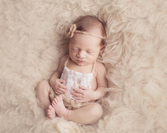 Beige Lace Front Mohair Knit Romper Newborn Photography Prop