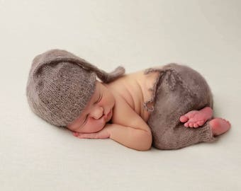 385296992dfa Toffee Brown Mohair Knot Hat and Shorts Set Newborn Baby Photography Prop