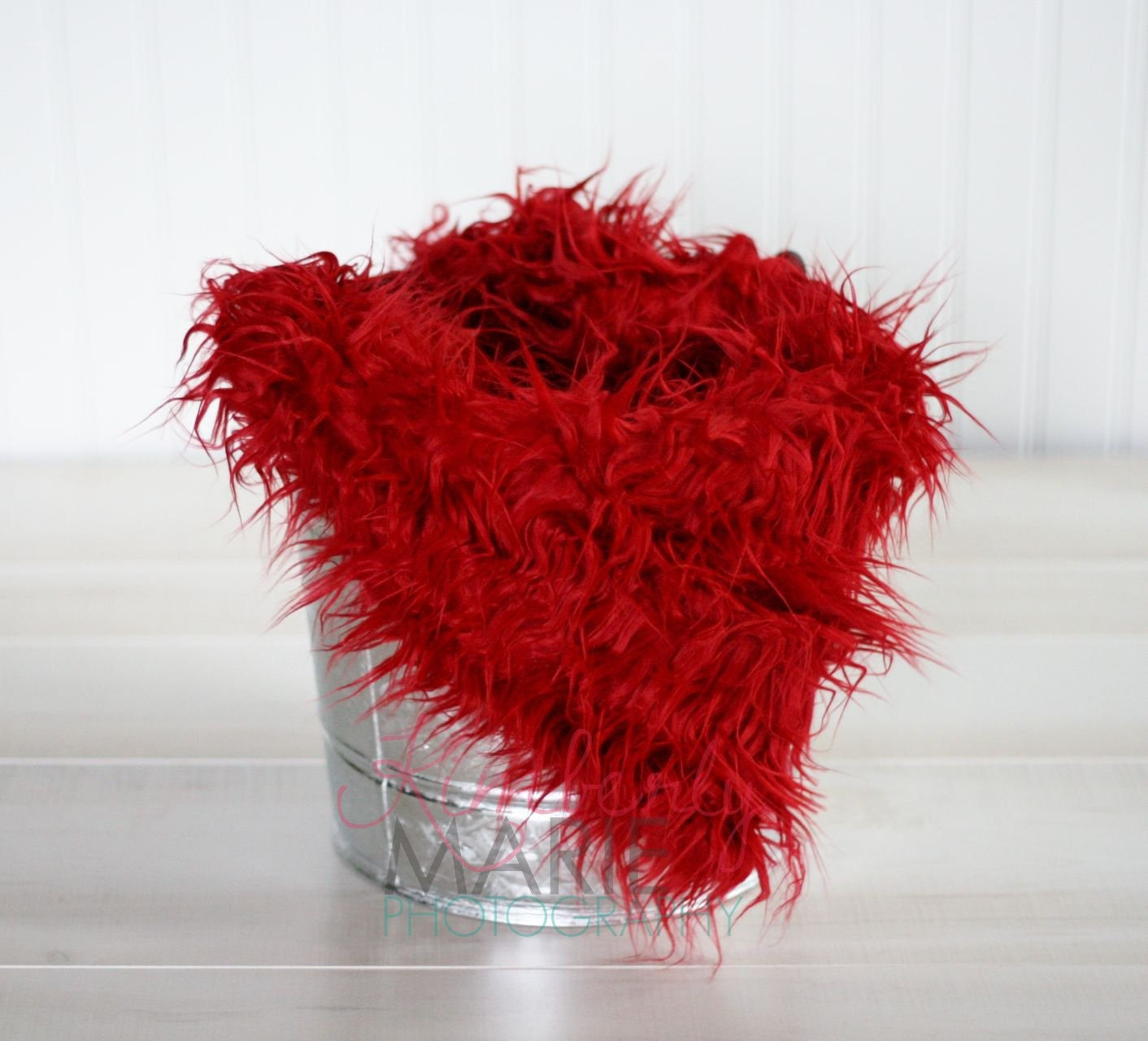 Red Mongolian Faux Fur Rug Nest Photography Photo Prop