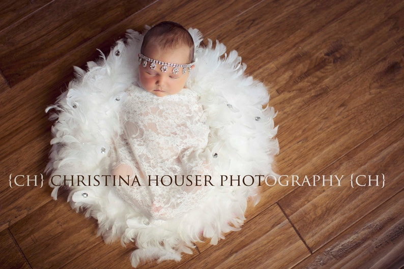 Off White Stretch Lace Wrap Newborn Photography Prop Baby Swaddle
