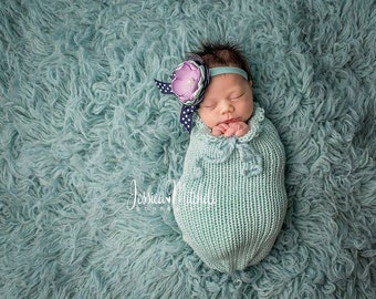 Glacier Blue Swaddle Sack Newborn Baby Photography Prop