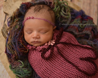 Rose Pink Swaddle Sack Newborn Baby Photography Prop