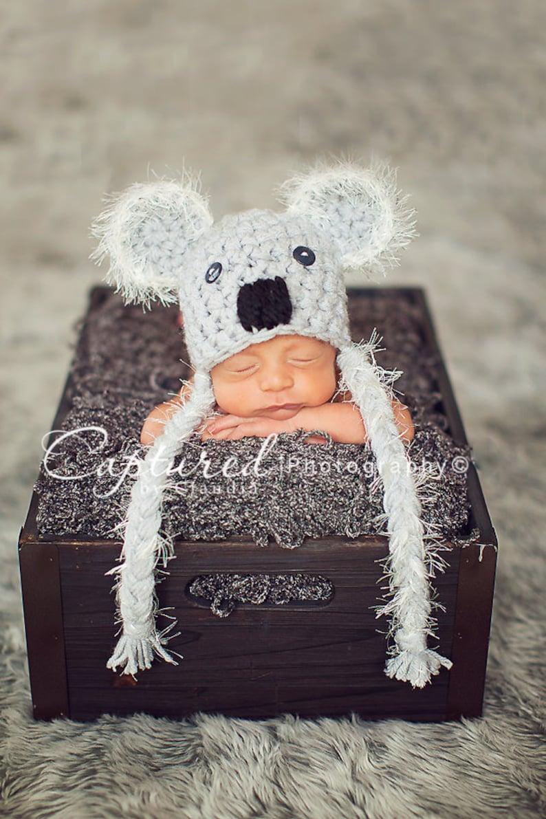 Koala Bear Hat Gray Fuzzy Newborn Photography Prop  3f500e54f005