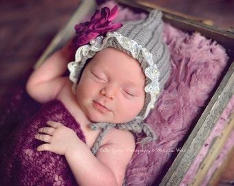 Gray Lace Pearl Cotton Knit Baby Bonnet Newborn Photography Prop