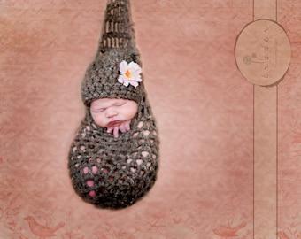 Hanging Infant Newborn Stork Sack and Hat