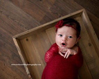 SET Burgundy Red Mohair Knit Baby Wrap and Headband Newborn Photography